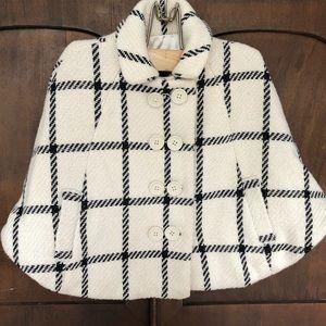 Baby Gap Girl's Wool Cape Black/White Size 3T